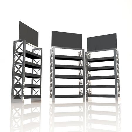 truss: Black shelves truss design on white background Stock Photo