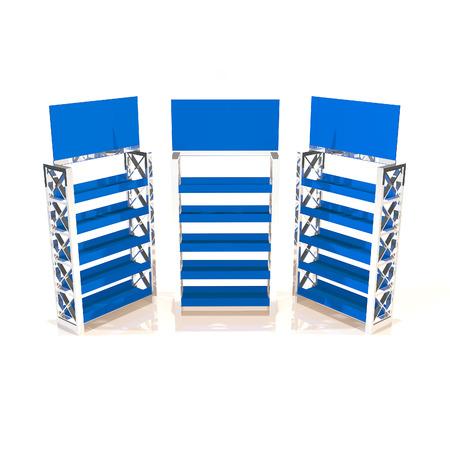 Blue shelves truss design on white background photo