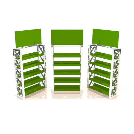 Green shelves truss design on white background photo