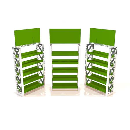 truss: Green shelves truss design on white background Stock Photo