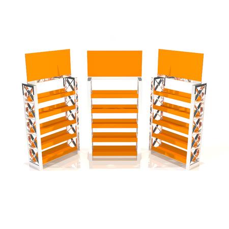 truss: Orange shelves truss design on white background