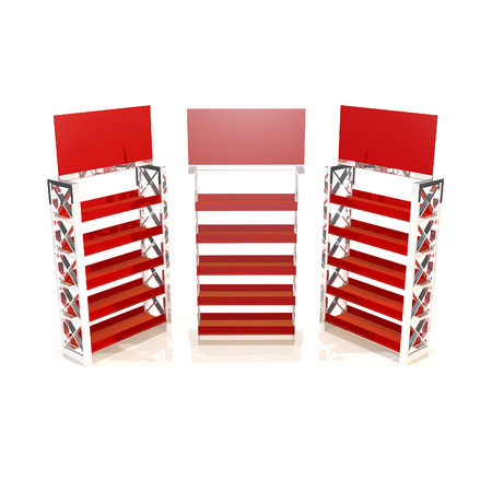 Red shelves truss design on white background photo