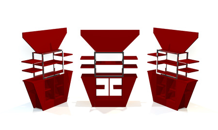 Red shelves design on white background photo