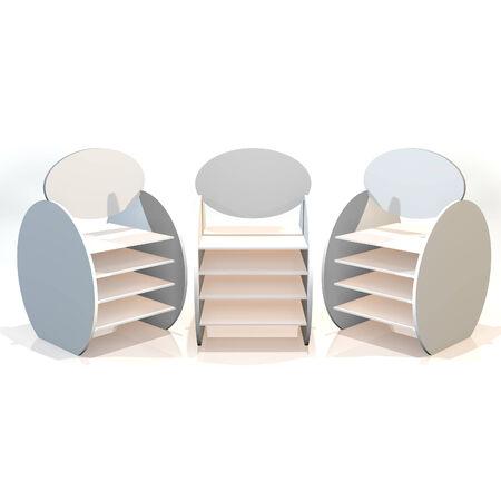 White shelves ball design on white background photo
