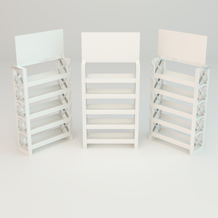 White shelves truss design on white background photo
