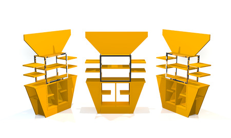 Yellow shelves design on white background photo