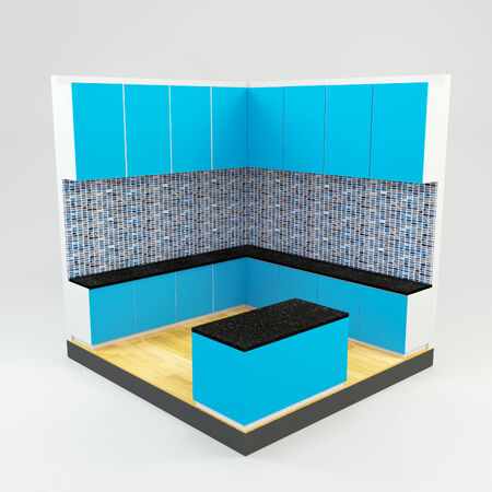 Blue kitchen room with gems stone mosaic wall and wooden floor  photo