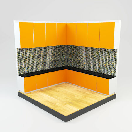 Orange kitchen room with gems stone mosaic wall and wooden floor  photo
