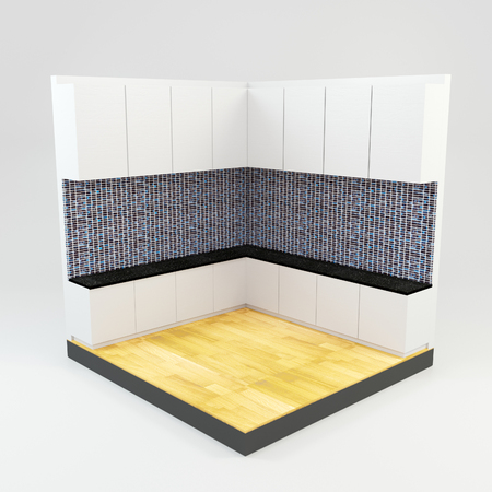 kitchen room with gems stone mosaic wall and wooden floor  photo