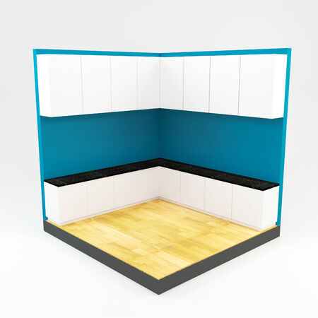 kitchen room with blue wall and wooden floor  photo