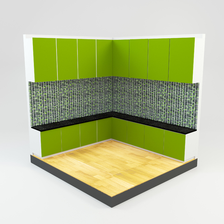 Green kitchen room with gems stone mosaic wall and wooden floor  photo
