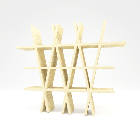 White Ash Wood Shelf on white background photo