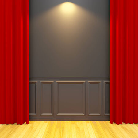 balck: Balck vintage empty room with red curtain