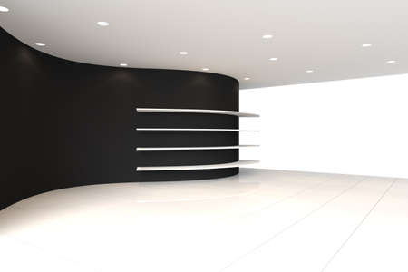 Curve Black Wall Empty Room with Shelves, Interior Exhibition photo