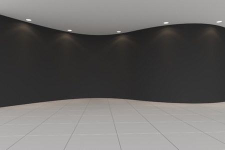 Curve Black empty room with tile floor and downlight