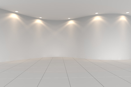 Curve white empty room with tile floor and downlight 版權商用圖片