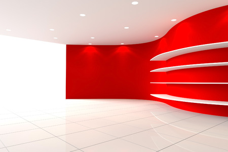 Curve Red Wall Empty Room with Shelves, Interior Exhibition photo