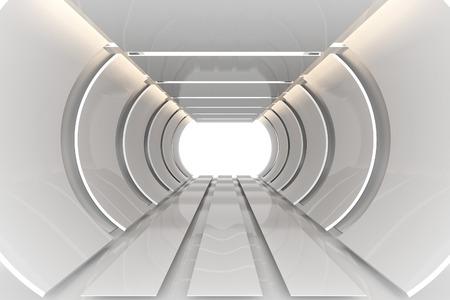 반사 재료와 미래의 인테리어 곡선 빈 방