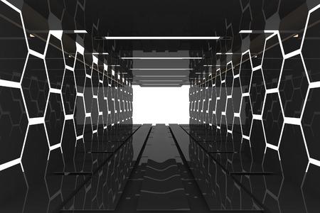 Futuristic Interior decorate black hexagon wall empty room with reflective materials Foto de archivo