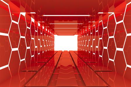 Futuristic Interior decorate white Red wall empty room with reflective materials Foto de archivo