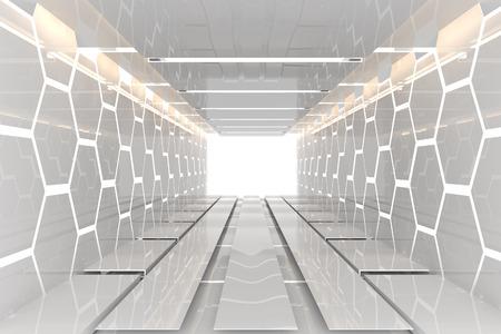 未来的なインテリアは、反射材と白の六角形壁空部屋を飾る