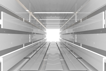 Futuristic Interior empty room with white reflective materials Foto de archivo