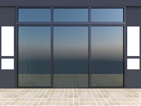 shopfront: Modern empty shop window with signboard, bluel store