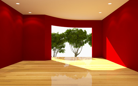 Interior Red Room Tree View Curve Wall with Wooden Floor Nature Light  photo