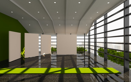 Green Office Interior Modern with white blank and black granite floor photo