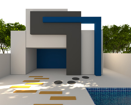 3D rendering Abstract Modern Mock-up exterior modern house with pool photo