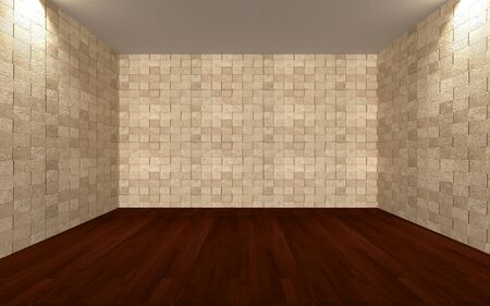 wooden floors: Home interior rendering with empty room wall tile and decorated with wooden floors  Stock Photo