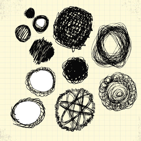 Doodle Circles on Paper, Vector Drawing Vector