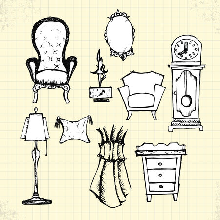 Doodle Antique Furniture on Paper, Vector Drawing Vector