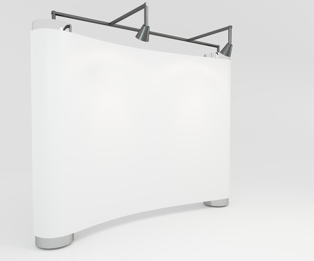 Blank trade show white display booth for design photo