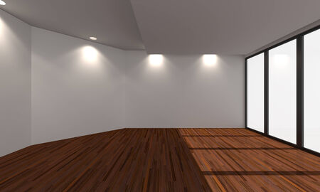 wooden floors: Home interior rendering with empty room color wall and decorated with wooden floors. Stock Photo