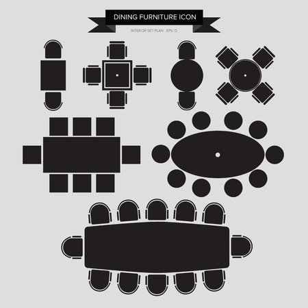 Dinning Furniture Icon, Top View for Interior Plan Vector