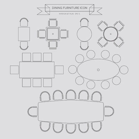 Dinning Furniture outline Icon, Top View for Interior Plan Vector