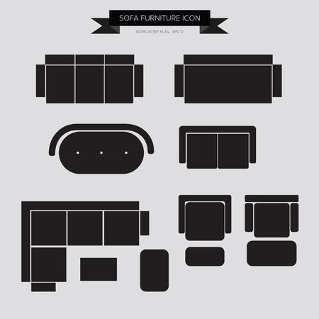 ソファ家具アイコン, インテリア計画の最上位ビュー ベクトル eps10  イラスト・ベクター素材