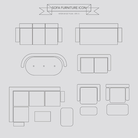 Sofa Furniture outline Icon, Top View for Interior Plan Vector