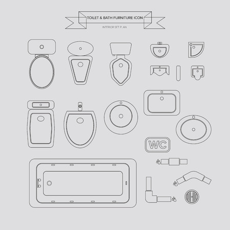 Toilet and Bath Outline Furniture Icon, Top View for Interior Plan, vector  イラスト・ベクター素材