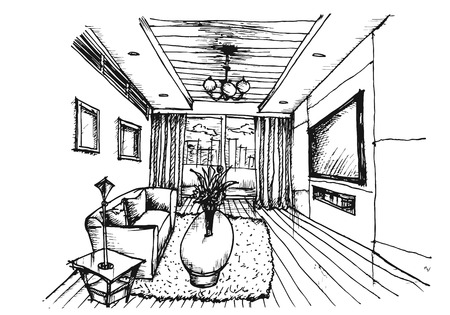 perspektiv: Hand ritning Inredning vardagsrum på vit bakgrund, vektor