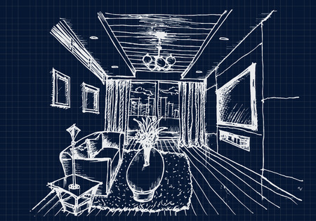 living room design: Hand drawing Interior Design for living room on blue print background, Vector