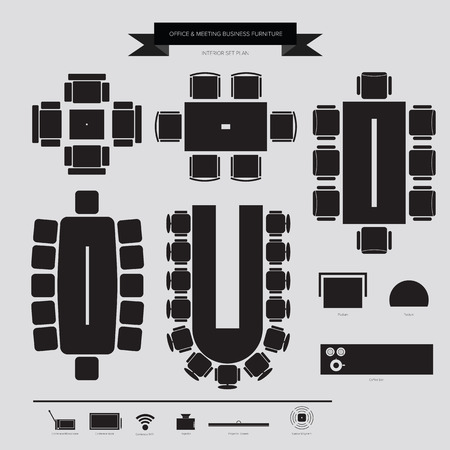 Office and Conferance Business Furniture Icon, Top View for Interior Plan Çizim