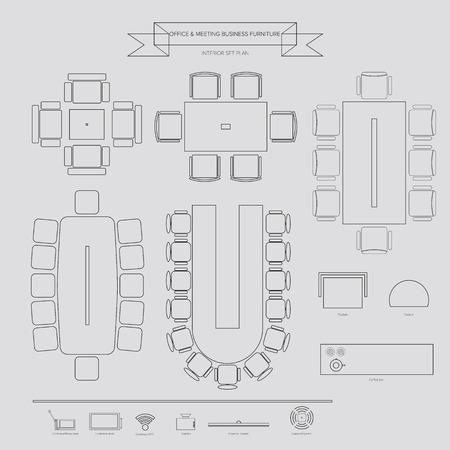 オフィスと/宴会施設事業概要家具アイコン インテリア計画のトップ ビュー 写真素材 - 32601600