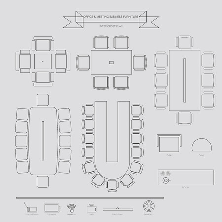 Office and Conferance Business outline Furniture Icon, Top View for Interior Plan Vectores