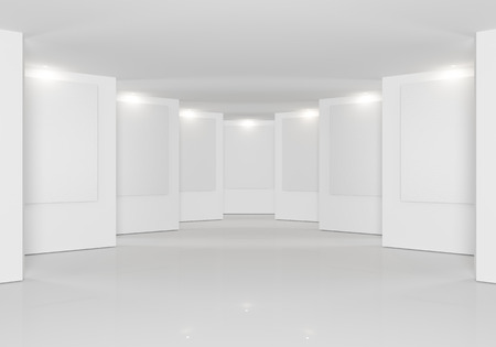 Empty room interior with white canvas on white wall in the gallery