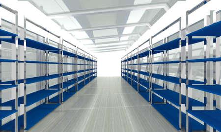 storage room: Futuristic abstract 3d illustration of storage room