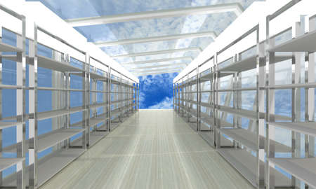 storage room: Futuristic abstract 3d illustration of storage room on sky background