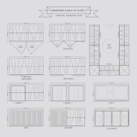 Wardrobe and walk in closet Furniture Icon, Top View for Interior Plan Vector