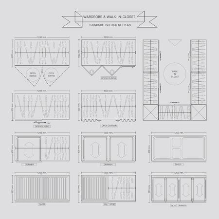 walk in closet: Wardrobe and walk in closet Furniture Icon, Top View for Interior Plan